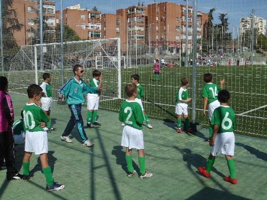 """El equipo Alevín """"B"""" minutos antes de salir a disputar su partido"""