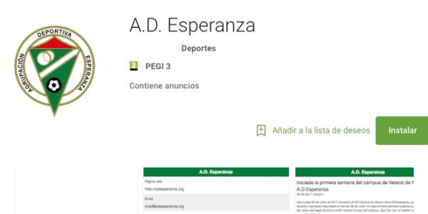La A.D.Esperanza estrena app para smarphone