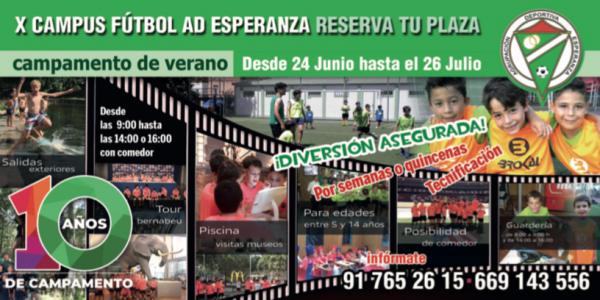 X Edición Campus de Verano de Fútbol A.D. Esperanza 2019