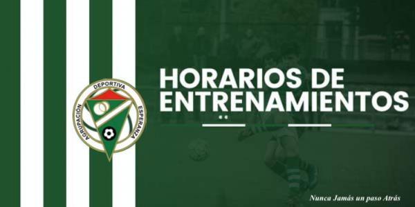 Horarios de Entrenamientos Temp. 2019-20